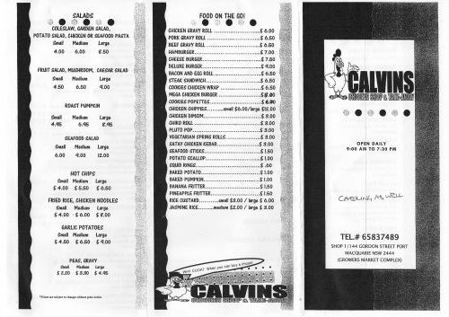 Calvins Chicken Shop  Take Away